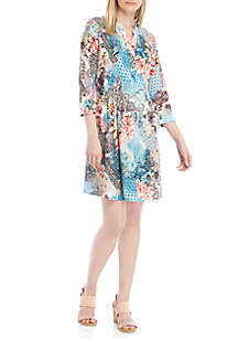 New Directions® 3/4 Sleeve Multi Floral Patch Henley Dress