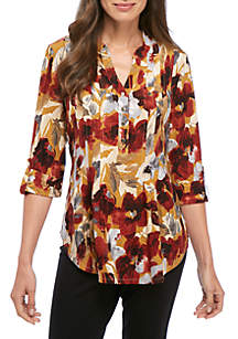 Three-Quarter Sleeve Floral Henley Top