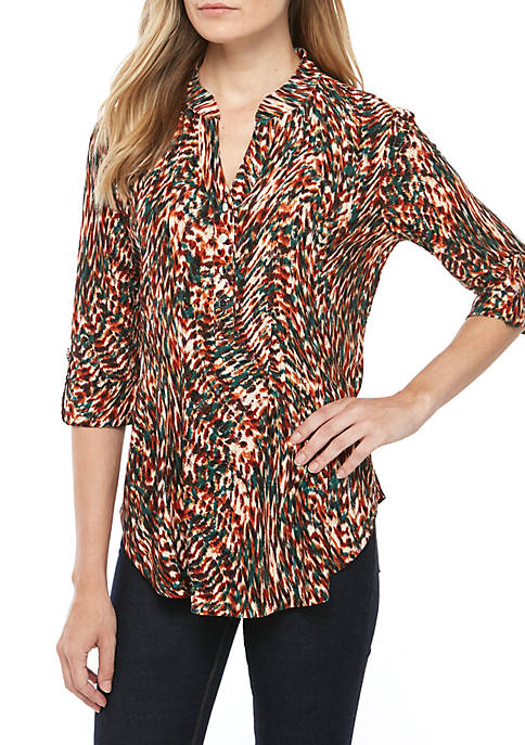 New Directions® Printed Knit Henley Top
