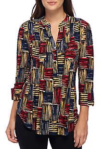 Three-Quarter Sleeve Multi Stripe Henley Top