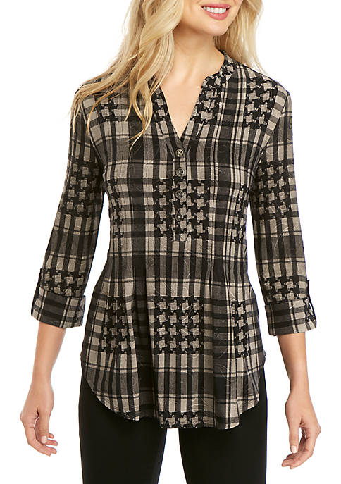 New Directions® Jacquard Plaid Henley Top