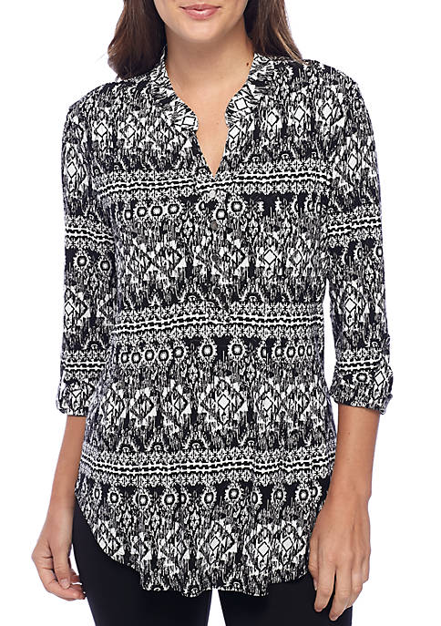 New Directions® 3/4 Sleeve Medallion Print Henley Blouse