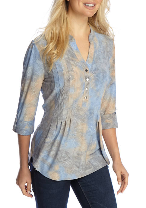 New Directions® Henley Yellow and Stone Tie Dye
