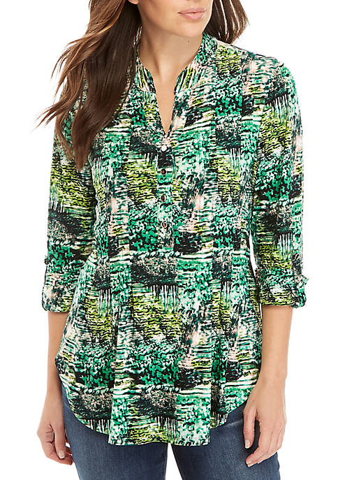 New Directions® Abstract Print Henley Knit Top
