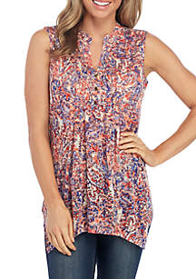 New Directions® Sleeveless Paisley Henley Top