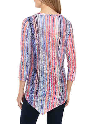 a824902c607 ... New Directions® 3 4 Sleeve Embellished Stripe Sublimated Top