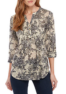 New Directions® 3/4 Sleeve Paisley Henley Top