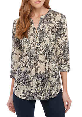 72e62ccbd1b4 New Directions® 3/4 Sleeve Paisley Henley Top ...