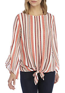 New Directions® 3/4 Sleeve Stripe Top