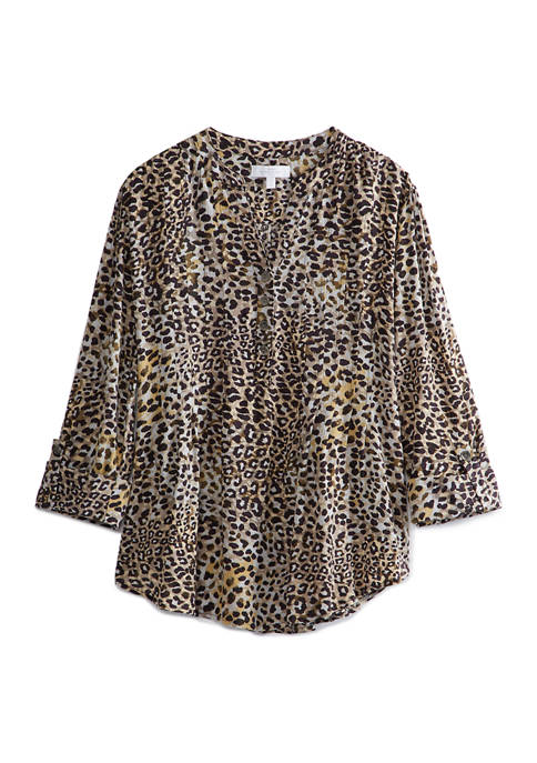 New Directions® Womens Henley Animal Print Tunic Top