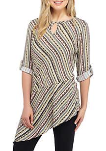 Three-Quarter Sleeve Asymmetric Hem Mixed Stripe Print Top