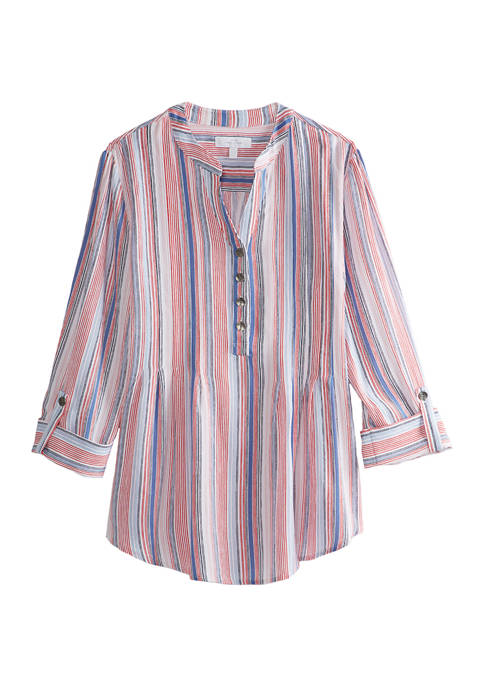 New Directions® Womens Crinkle Rayon Stripe Top
