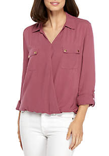 Three-Quarter Sleeve Surplice Top With Hardware