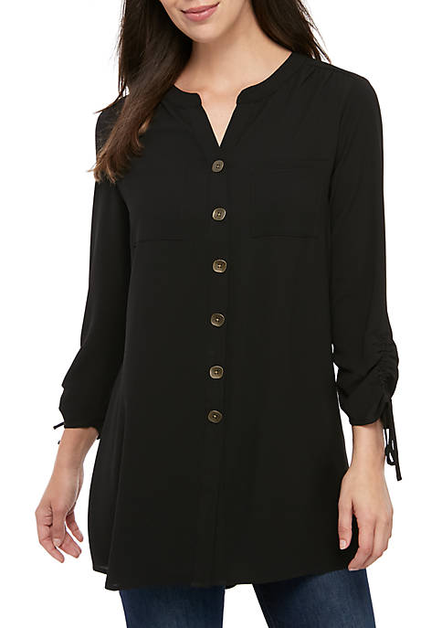 New Directions® Long Sleeve Solid Jacquard Cinch Sleeve