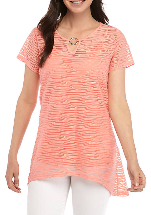 New Directions® Burnout Stripe Top with Hardware Neck
