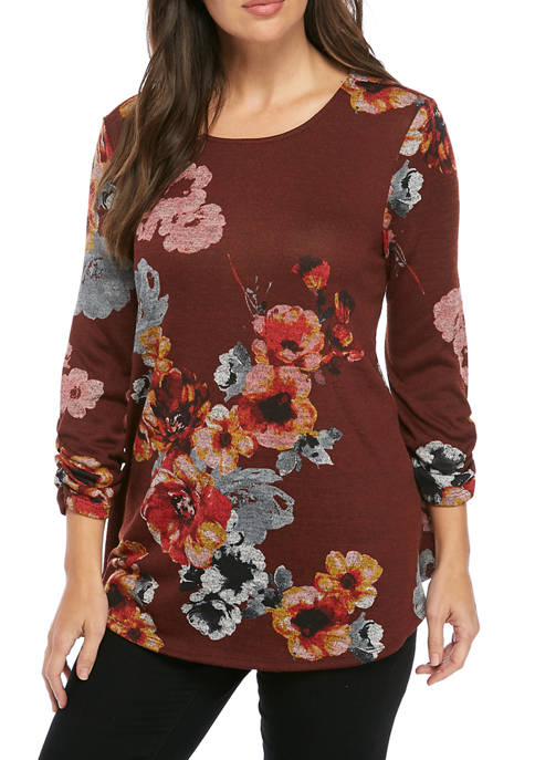 3/4 Cinched Sleeve Swing Hacci Top