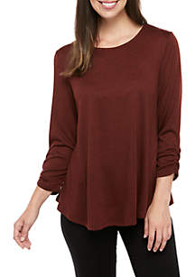 New Directions® 3/4 Cinch Sleeve Hacci Knit Swing Top