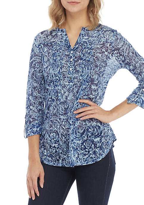 New Directions® 3/4 Sleeve Burnout Paisley Henley Top