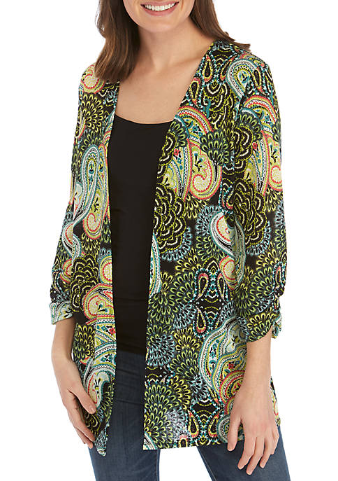 3/4 Ruched Sleeve Textured Knit Completer