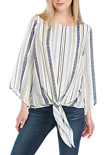 New Directions® 3/4 Sleeve Tonal Blue Stripe Tie Front Woven Top