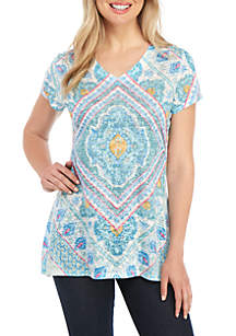New Directions® Short Sleeve Place Diamond Print Sublimated T Shirt