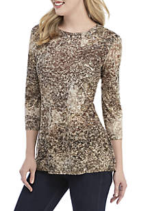 New Directions® 3/4 Sleeve Medallion Paisley Print Top