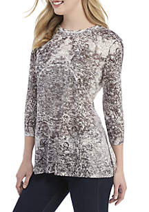 New Directions® 3/4 Sleeve Sublimated Medallion Print Top