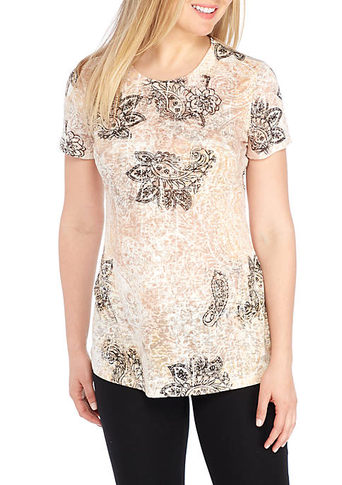 New Directions® Knit Paisley Print Sublimated Tee