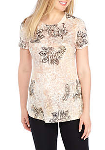 Knit Paisley Print Sublimated Tee