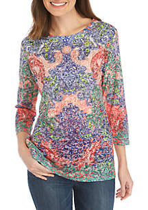 New Directions® 3/4 Sleeve Scoop Neck Multi Scroll Print Top
