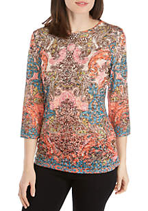 New Directions® 3/4 Sleeve Neon Placed Scroll Print Top