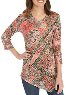 New Directions® 3/4 Sleeve Medallion Floral Patch with Asymmetrical Hem Top