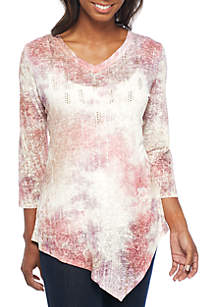 Knit V-Neck Tie-Dye Sublimated Tee