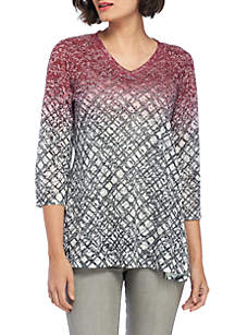 Three-Quarter Sleeve Plaid Ombre Top With Studs