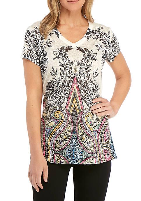 Womens Short Sleeve Sublimated Print T-Shirt with Shark Bite Hem