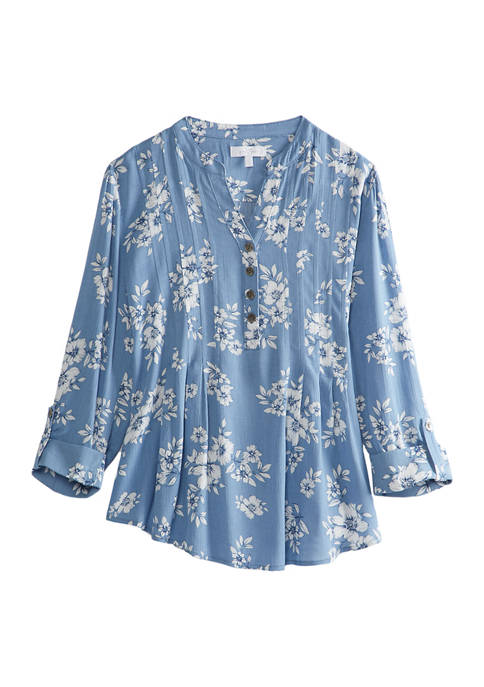 Womens Crinkle Floral Rayon Top