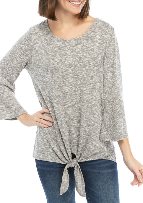 New Directions® Womens Tie Front Hacci Knit Sweatshirt