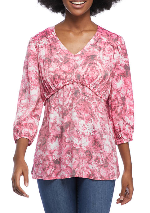 New Directions® Womens 3/4 Puff Sleeve V-Neck Printed