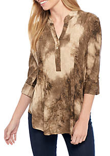 Three-Quarter Sleeve All Over Studded High-Low Henley Top