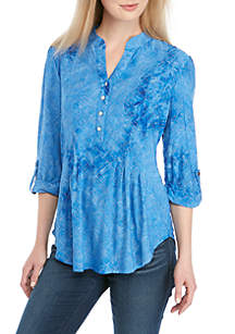 New Directions® 3/4 Roll Tab Sleeve Henley Top
