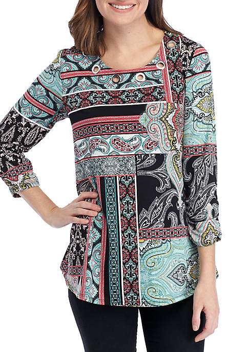 New Directions® 3/4 Ruched Sleeve Multi Patchwork Swing