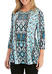 Knit 3/4 Sleeve Printed Swing Top with Embellishments