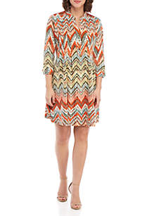 New Directions® 3/4 Sleeve Printed Henley Dress