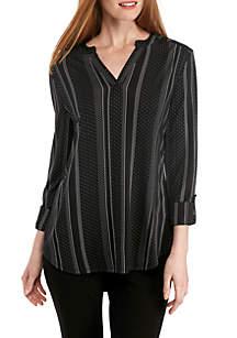 Three-Quarter Sleeve Y-Neck Stripe Dot Tunic