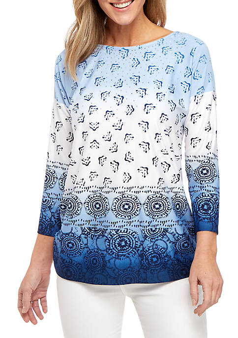 New Directions® 3/4 Sleeve Ruched Side Border Print