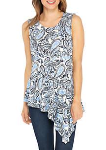 Sleeveless Paisley Print Asymmetrical Shirt