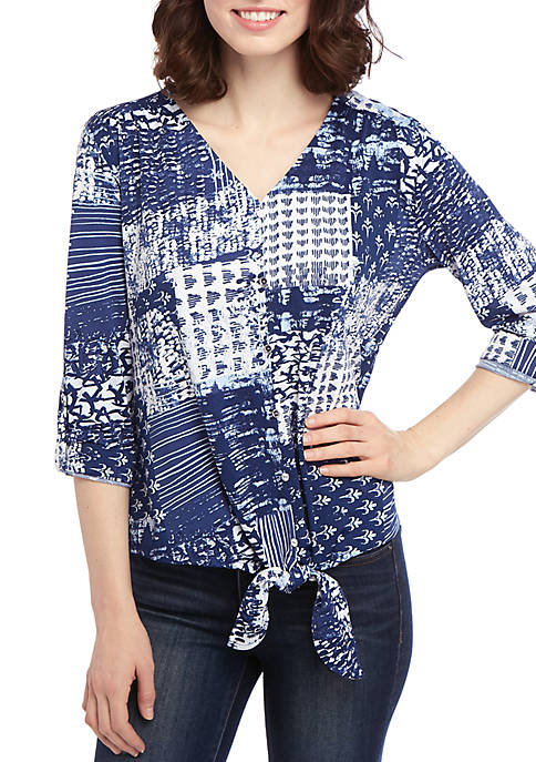 3/4 Sleeve Patchwork Printed Button Tie Front Top