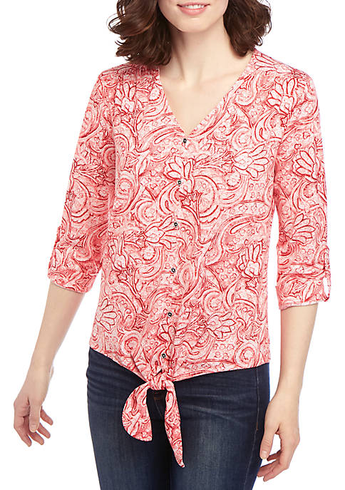 3/4 Sleeve Red Paisley Button Tie Front Top