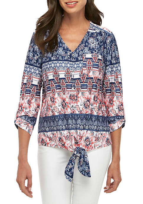 3/4 Sleeve Floral Stripe Button Tie Front Top