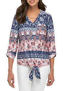 New Directions® 3/4 Sleeve Floral Stripe Button Tie Front Top